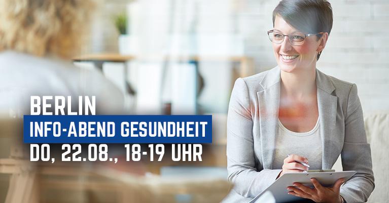 Frau im Beratungsgepräch, Einladung zum Info-Abend Gesundheit in Berlin am 22.08. von 18 bis 19 Uhr.