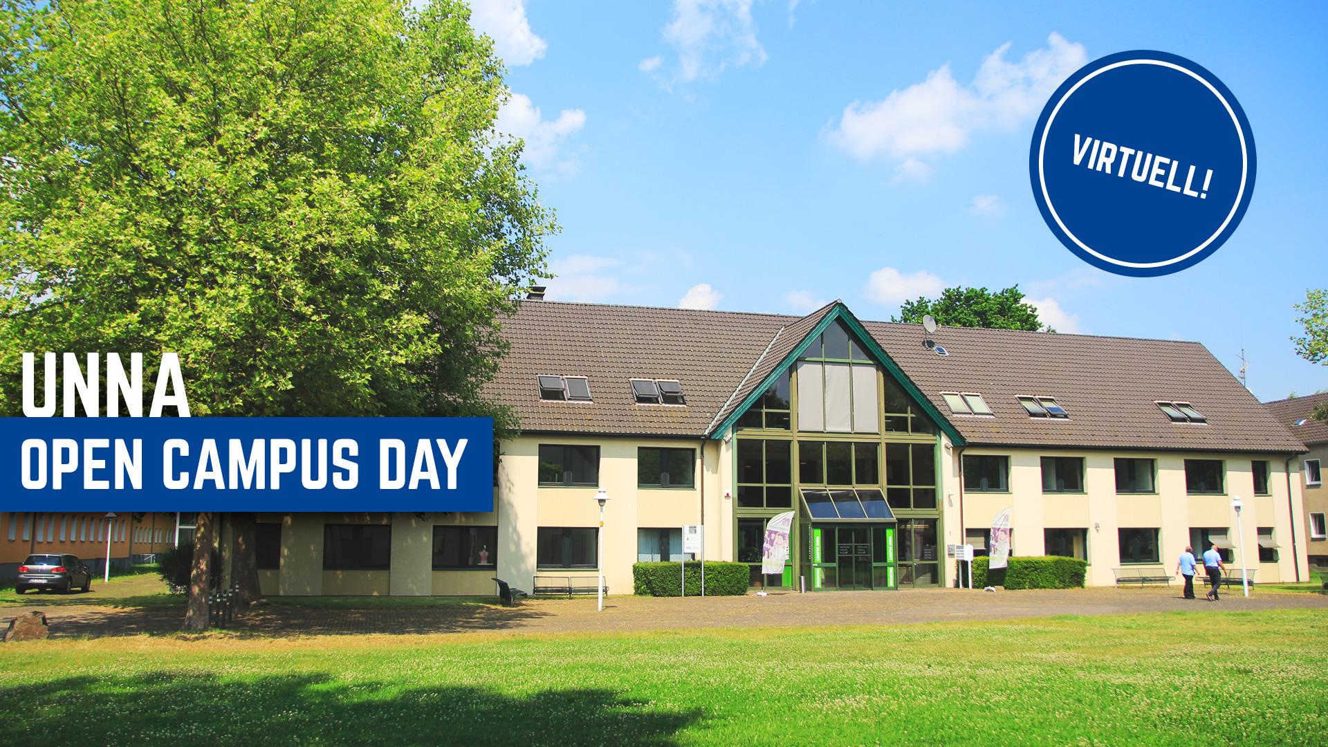 Frontansicht des Standorts Unna, Einladung zum Open Campus Day.